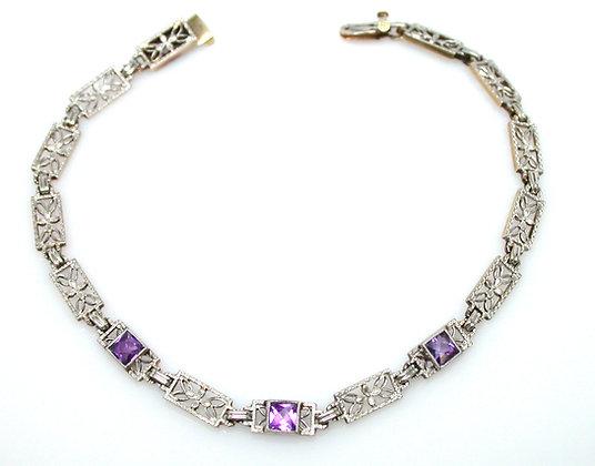 14kt/ Platinum Amethyst Bracelet