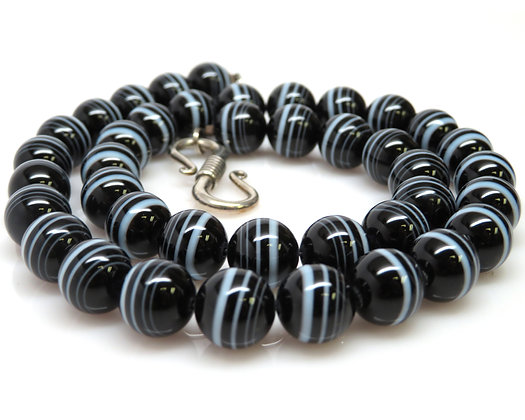 Sterling Silver Banded Agate Bead Necklace