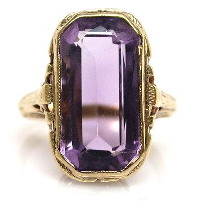 18kt Filigree Amethyst Ring