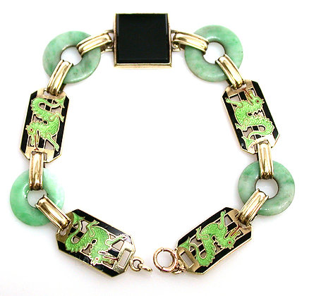 14kt Enamel, Jade & Onyx Dragon Bracelet