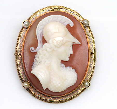 14K Stone and Pearl Cameo