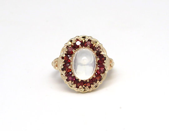 10kt Moonstone and Garnet Ring