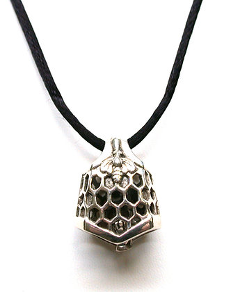 Sterling Silver Bee and Honeycomb Bell