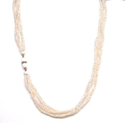 Seed Pearl Necklace with 14kt Enamel and Pearl Clasp