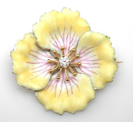 14kt Yellow Enamel Flower Diamond Brooch