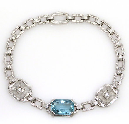 14K White Gold, Etched Quartz, Diamond, and Aquamarine Bracelet