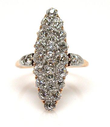 Antique 14kt Navette Old Mine Cut Diamond Ring