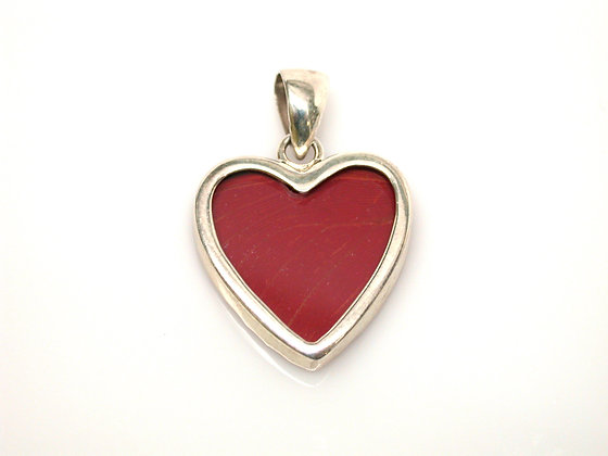 Red Heart Shaped Butterfly Pendant