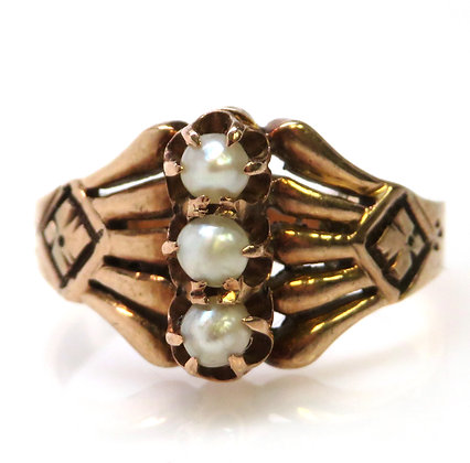10kt enamel and pearl ring