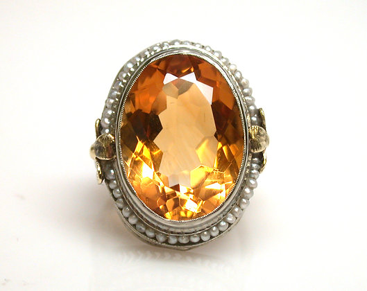 10kt Filigree Citrine and Seed Pearl Ring