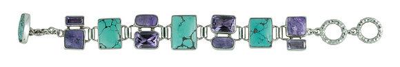 Sterling Silver Amethyst, Turquoise,& Sugilate Bracelet