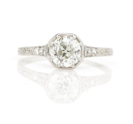 Antique Platinum 0.78ct Diamond Ring