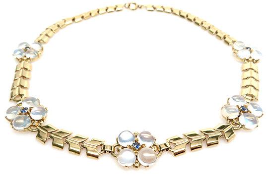 Retro 14kt Moonstone & Sapphire Necklace
