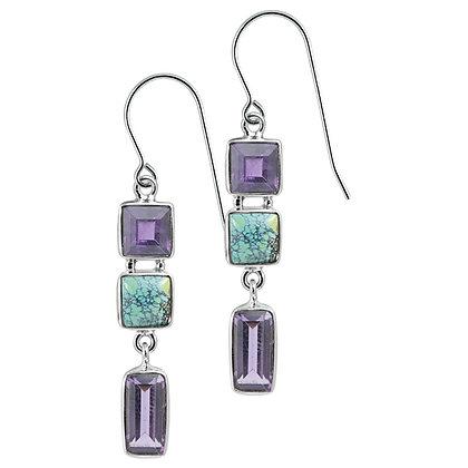 Sterling Silver Amethyst & Turquoise Earrings