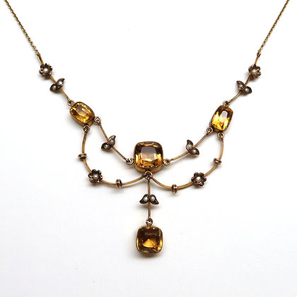 10K Citrine and Pearl Necklace