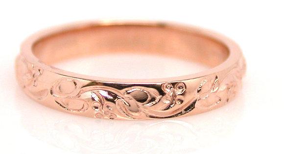 14kt Rose Gold Engraved Band
