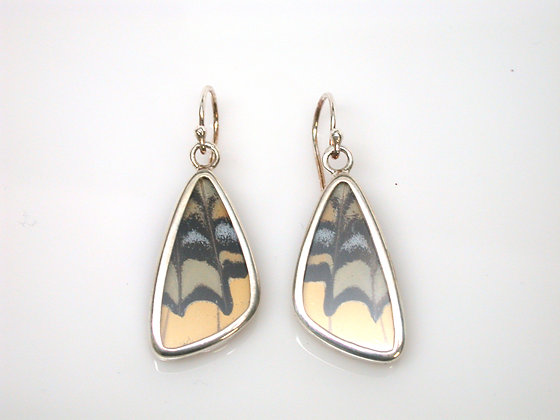 Yellow, Blue, Sage and Black Butterfly Earrings