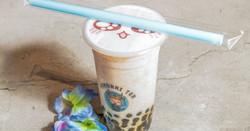 Handmade taro fresh milk with boba