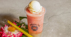 Strawberry slushees with lychee jelly & ice cream