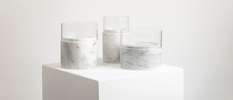 SANTUARIO WHITE MARBLE GLASS CANDLES
