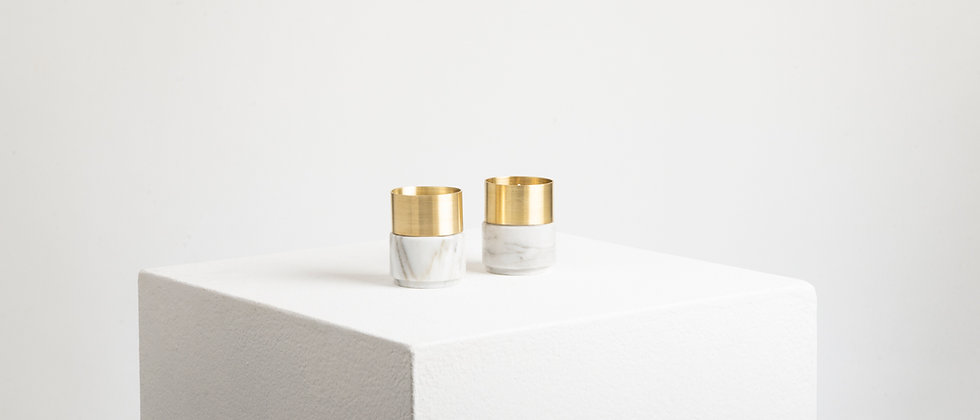 WHITE MARBLE BRASS CANDLE HOLDERS