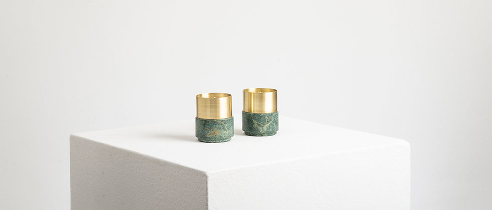 GREEN MARBLE BRASS CANDLE HOLDERS