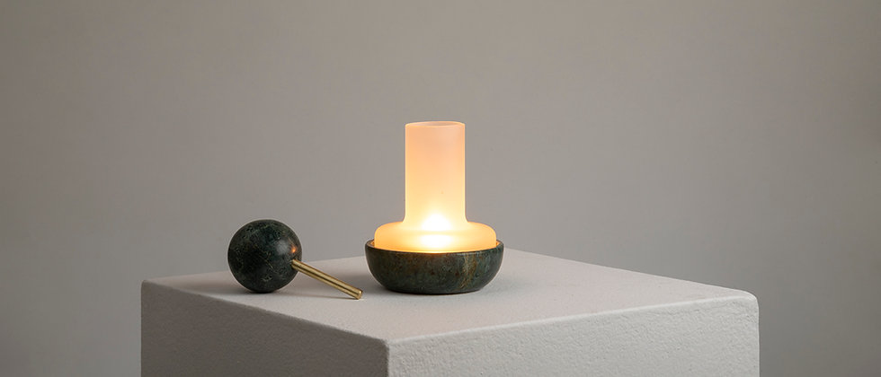 "GREEN MARBLE ""QUINQUÉ"" CANDLE LIGHT"