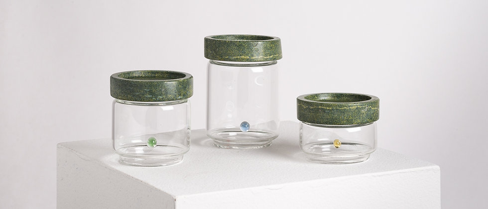 CONTAINERS GREEN MARBLE AND GLASS