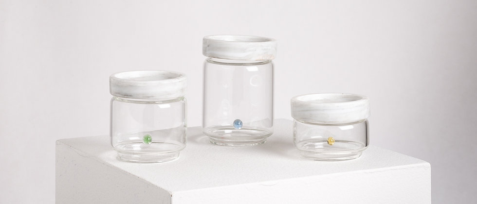 CONTAINERS WHITE MARBLE AND GLASS