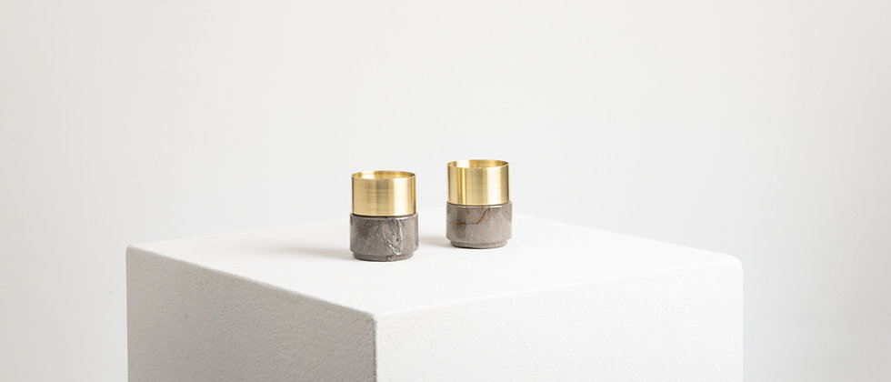 GRAY MARBLE BRASS CANDLE HOLDERS