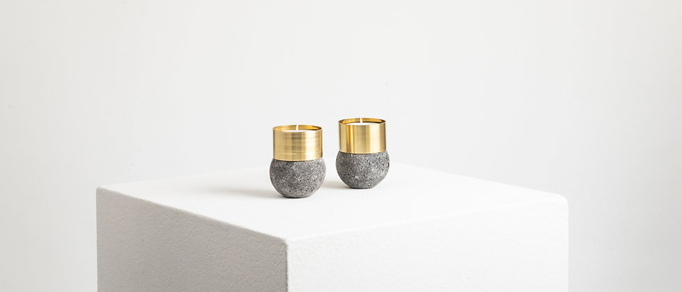 LAVA STONE BRASS CANDLE HOLDERS