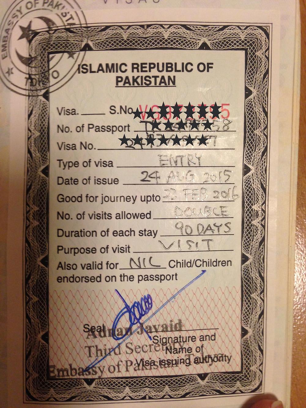 Mon VISA pour le Pakistan