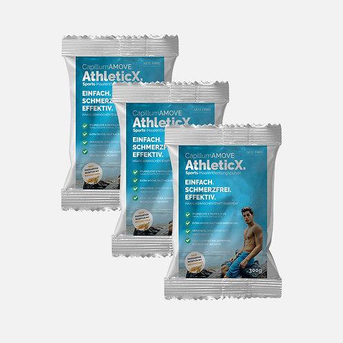 Capillum AMOVE AthleticX 3x300g | Dusch-Haarentfernungscreme Pulver