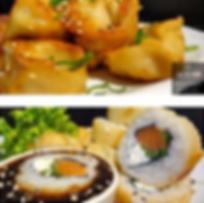Gyozas mixtas  y rolls tempurizado