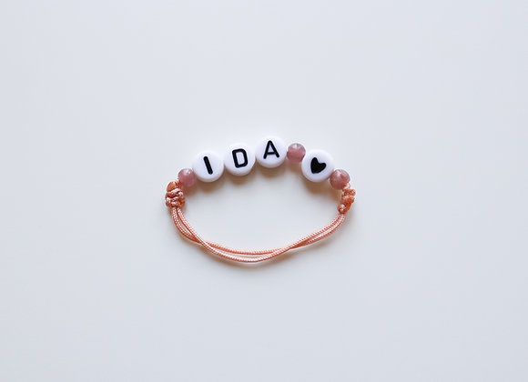 Kids-Armband mit individuellem Namen (Rosa)