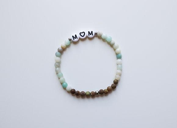 "Mama-Armband ""MOM"" (Mint/Braun/Beige)"