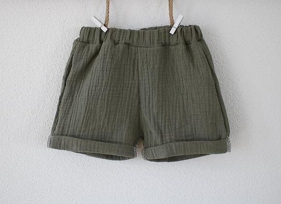 "Shorts ""Musselin"" (Helles Oliv)"