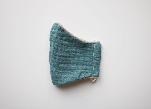 """Kids Mund-Nasen-Bedeckung """"Musselin"""" (Antique Mint/Beige)"""