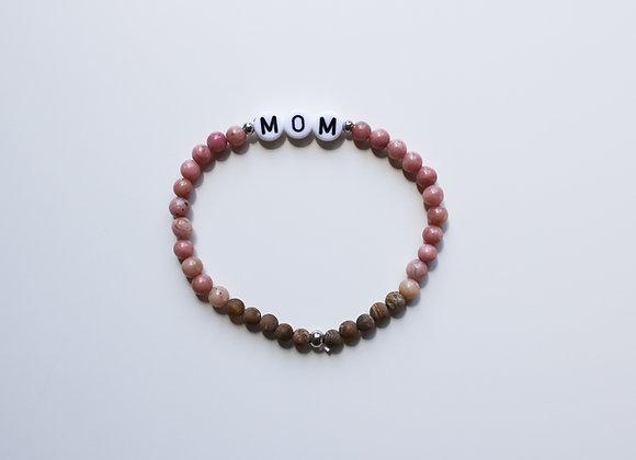 "Mama-Armband ""MOM"" (Rosa/Braun/Beige)"