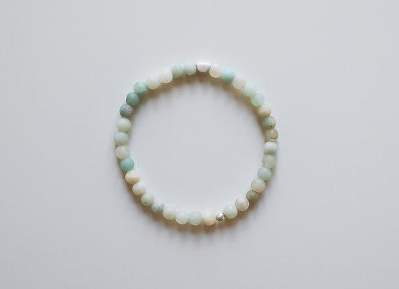 """Mama-Armband """"Silbernes Herz"""" (Weiß/Mint)"""