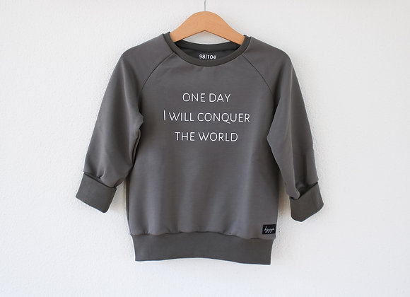 """Sweater """"one day I will conquer the world"""" (Taupe Grau/Beige)"""