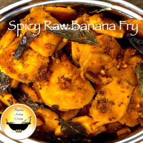 Spicy Raw banana fry recipe/vazhakkai varuval/aratikaya vepudu/plantain fry/plantain fry recipe