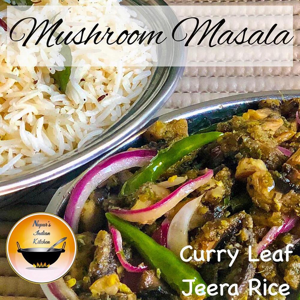 Mushroom Masala with Curry Leaf Jeera Rice/Mushroom Curry with Jeera Rice/Spicy Mushroom Fry