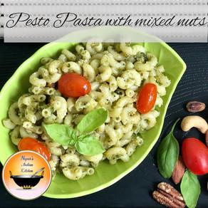 Pesto Pasta/Pesto Pasta Recipe/Pesto Pasta with mixed nuts/Basil Pesto Pasta/Indian style Pasta