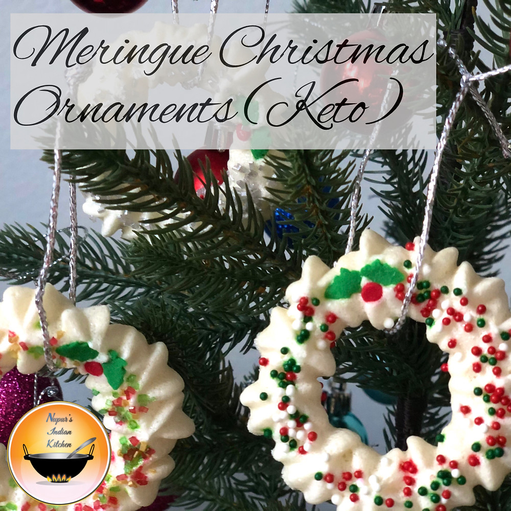 Meringue wreath/Edible Christmas Ornaments/Sugar-free Meringue cookies/Keto cookies/Low carb cookies