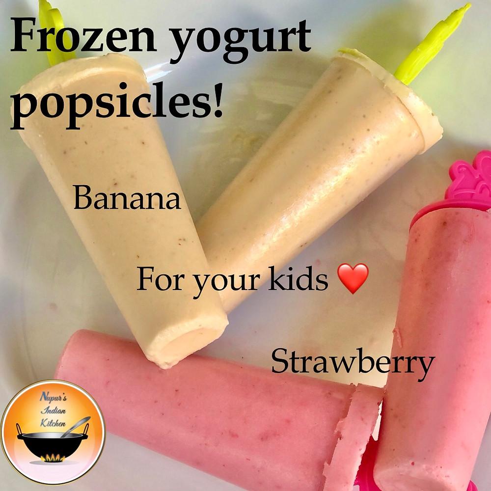 Frozen Yogurt Popsicles/How to make frozen yogurt/Banana Frozen yogurt/Strawberry Frozen yogurt