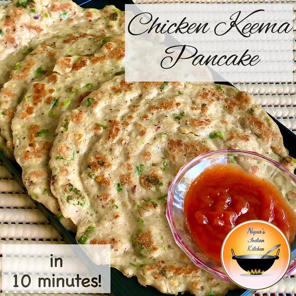 Chicken Keema Pancake/Chicken pancake Indian style/Quick lunch box chicken pancake recipe for kids