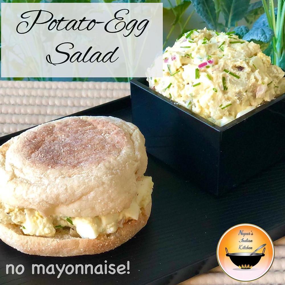 How to make potato egg salad without mayonnaise/Potato egg salad sandwich/Potato salad no mayo