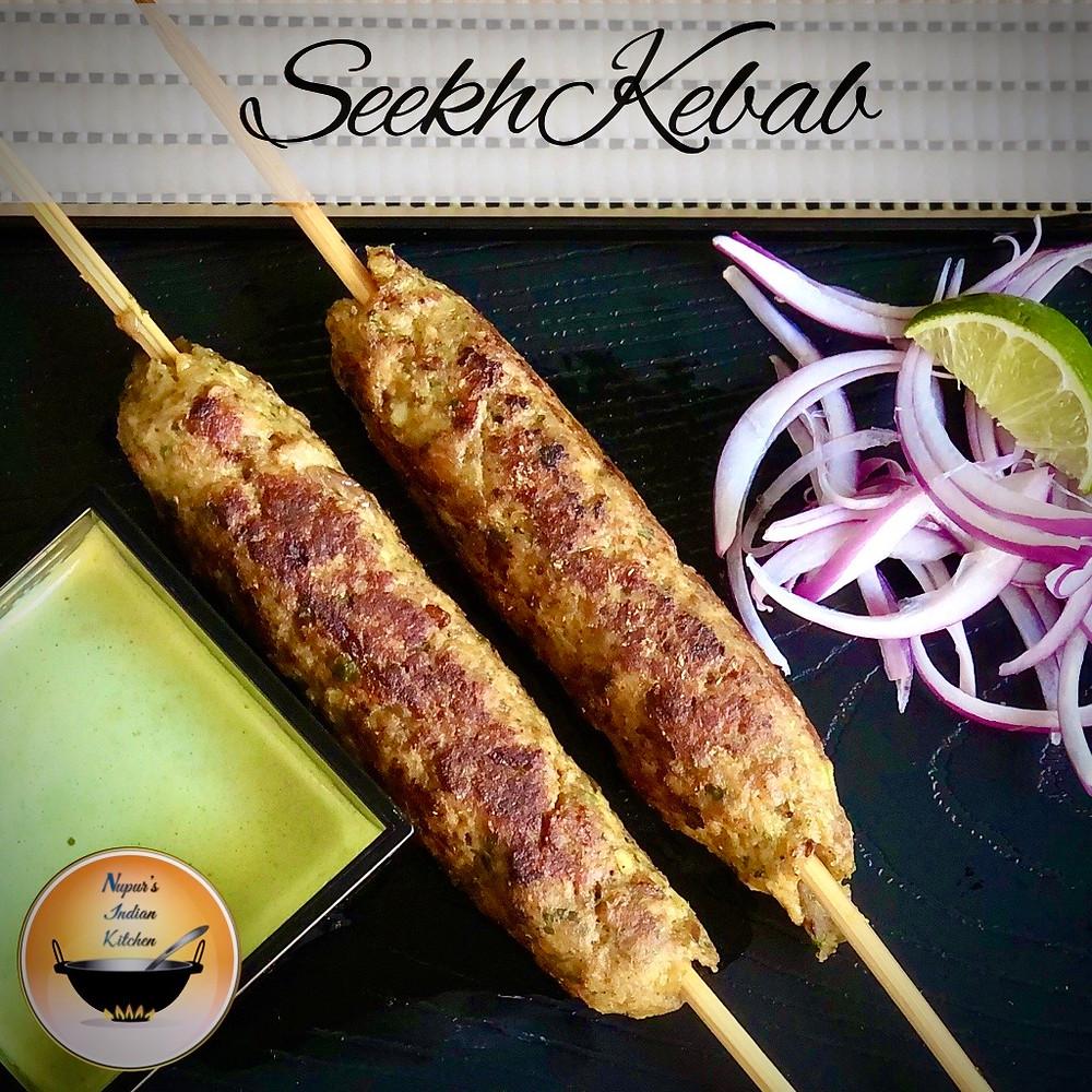 Seekh Kebab/Seekh Kabab recipe/Seekh Kebab recipe/Chicken Seekh Kebab/Green mint coriander chutney