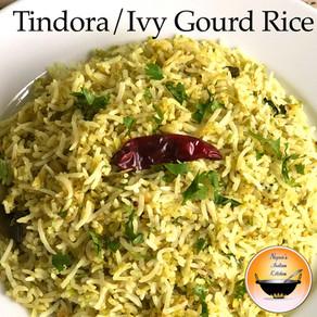 Tindora Rice Recipe/Ivy Gourd Rice/Kundru Rice Recipe/Tendli Bhaat/Tondli Bhaat/Dondakaya Rice